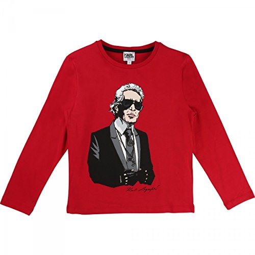 Karl Lagerfeld - T-Shirt Manches Longues Rouge - 10 Ans, Rouge