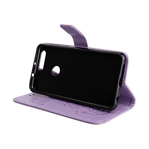 EKINHUI Case Cover Geprägte Palmenblumenmuster Retro PU-Leder-Mappen-Beutel-Kasten-Abdeckung mit Kartenschlitzen und Lanyard für Huawei Hornor 8 ( Color : Gold ) Purple