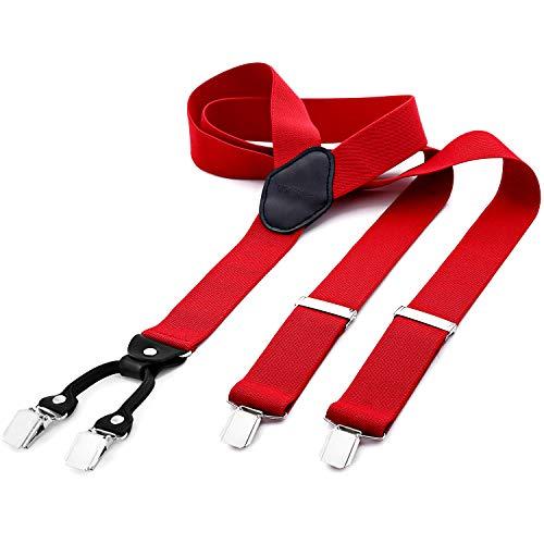 DonDon® Herren Hosenträger breit 3,5 cm - 4 Clips mit Leder in Y-Form - elastisch und längenverstellbar rot (Genial Paare Kostüm)