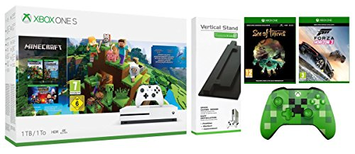 Xbox One S 1TB Console Minecraft Bundle Plus Vertical Stand/Forza Horizon 3/Sea of Thieves/Xbox Wireless Controller/Minecraft Creeper