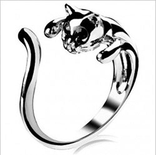 Hugh Francis - Anillo Ajustable para Mujer, diseño de Gato, Color Plateado