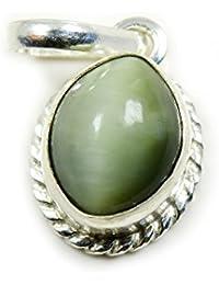 gemsonclick Gemstone de ojo de gato colgante de plata de ley 9253CT naturales
