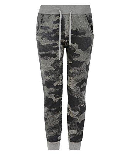 LotMart Enfants Adolescents Pixel Camouflage Bas Survêtement Garçon Fille Jogging Pantalon Survêtement - Camouflage Gris, 5-6 Ans