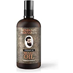 Premium Beard Oil by Benjamin Bernard - Male Grooming Blend with Essential Oils, Vitamin E - Natural Hydrating Treatment - Facial Hair Shaping Serum and Softener for Men - Tobacco Vanille - 100ml