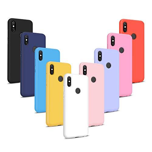 9X Funda Xiaomi Redmi Note 6 Pro, Trasero Color Sólido Cáscara Flexible Goma Suave Delgado Gel TPU Silicona Protección Case Mate Antigolpes Anti-rasguño Caso - 9 Colores