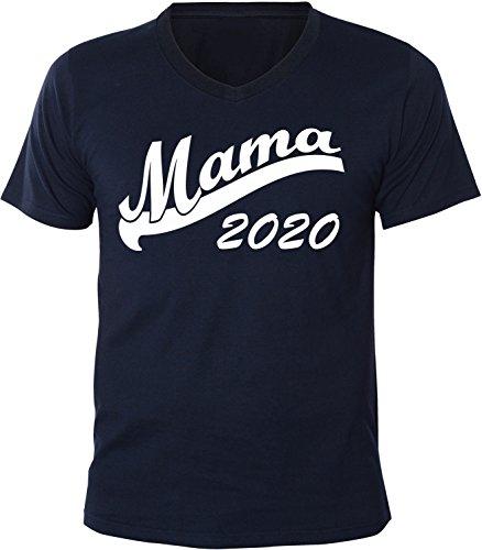 Mister Merchandise Herren Men V-Ausschnitt T-Shirt Mama 2020 Tee Shirt Neck bedruckt Navy