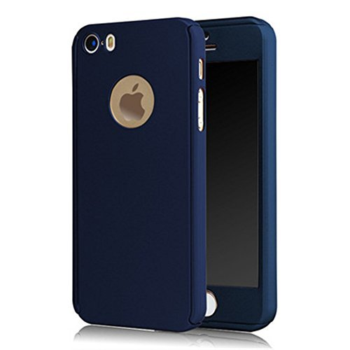 iPhone 5S Case, 360 Degree Full Body Protection Front & Back Case Cover With TemperedGlass for Apple iPhone 5S (Blue)