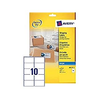 Avery Self Adhesive Address Mailing Labels, Inkjet Printers, 10 Labels per A4 Sheet, 250 labels, QuickDRY (J8173)