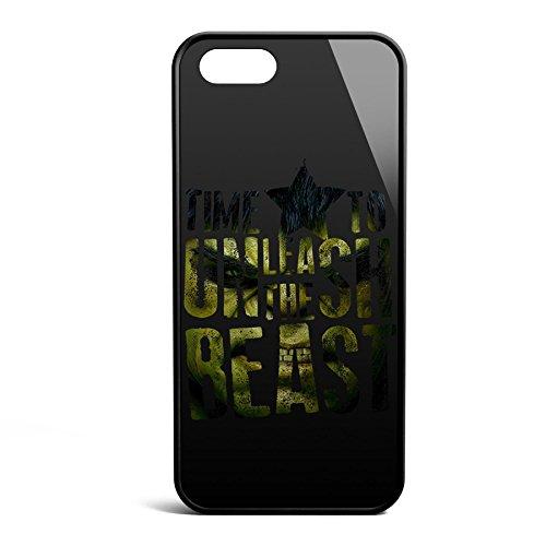Smartcover Case Time To Unleash the Beast z.B. für Iphone 5 / 5S, Iphone 6 / 6S, Samsung S6 und S6 EDGE mit griffigem Gummirand und coolem Print, Smartphone Hülle:Samsung S6 EDGE weiss Iphone 5 / 5S schwarz