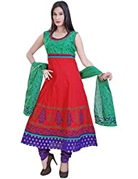 Divinee Red And Green Color Printed Readymade Anarkali Suit For Women