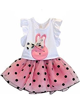 Vestido de niña, RETUROM Juego de ropa de la falda de la camisa y del polka del punto del arco del conejo de la...