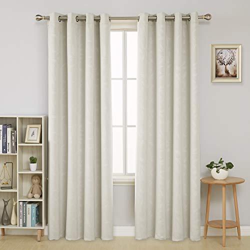 Deconovo Cortina Opacas Diseño Hojas Bambú Ojales