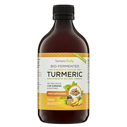 Flüssiges Kurkuma Curcumin, Hochdosiert (900 mg) – Mit 6 Milliarden Probiotika für Verdauung und Immunsystem + Enzyme, Schwarzer Pfeffer & Ingwer | Waldbeere Geschmack | 99% Zuckerfrei, Vegan (Ananas und Passionsfrucht)