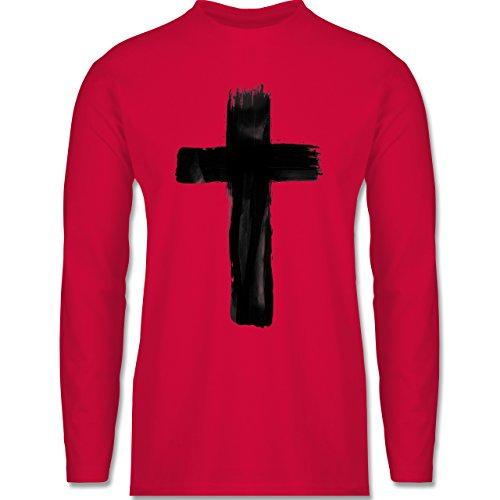 Symbole - Kreuz Vintage - Longsleeve / langärmeliges T-Shirt für Herren Rot