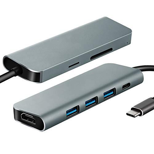 AXELEL Hub di aggancio per Adattatore USB C 7-in-1, Tipo C Convertitore per Docker HD UHD da 3 a 4K con 3 USB 3.0, Lettore di schede Micro SD/TF, 60W Power Delivery per MacBook PRO