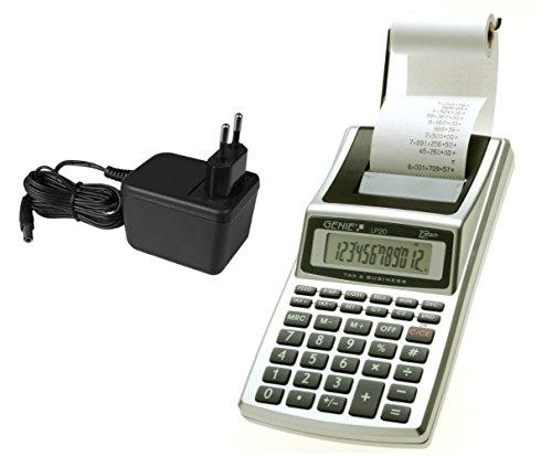 Genie LP 20 Druckender Tischrechner (Netzteil, Batterie, 12-stelliger Rechner, schwarz Druck (Tintenroller)) (Druck-rechner Schwarz)