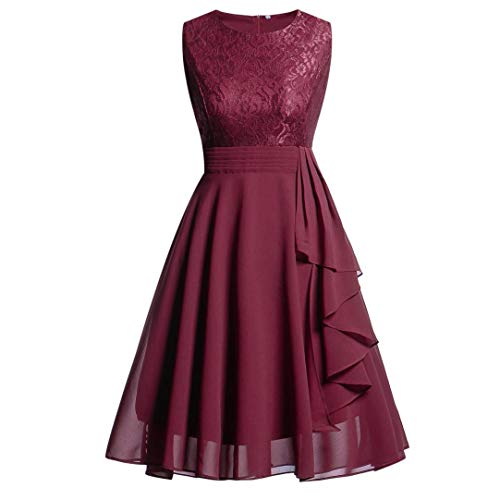 Soldes Robe Patineuse Courte Dentelle Femme sans Manches,Overdose Hiver Robes Sexy Soiree Dress pour Mariage