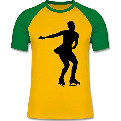 Wintersport - Eiskunstläuferin - zweifarbiges Baseballshirt für Männer Gelb/Grün