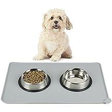 Ploopy Mantel individual de Mascotas, Pet Food Mat Tazón Impermeable no tóxico FDA Silicona de Grado Estera, Evitar la Comida de Mascotas Caiga al Suelo 47*30 CM Gris