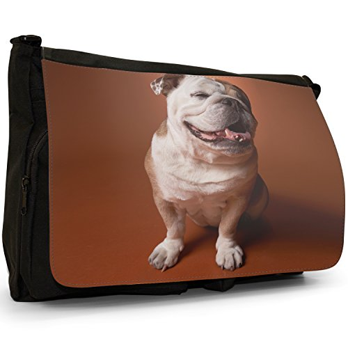 Fancy A Bag Borsa Messenger nero Bull Dog Sitting Bull Dog Sitting