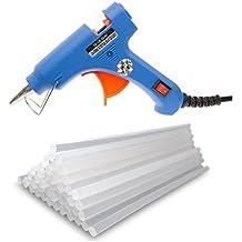 Pistola de silicona caliente con 40 barras de pegamento termofusible transparente. Perfecto para pequeños trabajos de bricolaje y manualidades. Pistola de pegamento imprescindible para reparaciones en el hogar y la oficina. Azul.