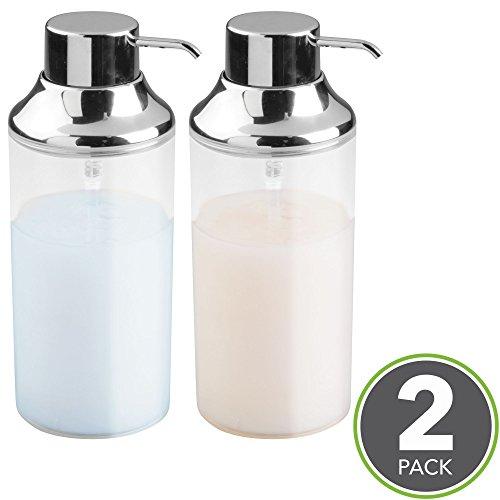 mDesign Dispensador de champu rellenable - Dosificador de jabon con capacidad de 414 ml - Dispensador de jabon liquido para gel, acondicionador y champu - transparente/cromado - Paquete de 2