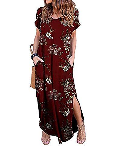 Kidsform Maxi Kleid Damen Großen Größen Sommerkleider Elegant Strandkleider Kurzarm V-Ausschnitt Split Lang Kleid XL