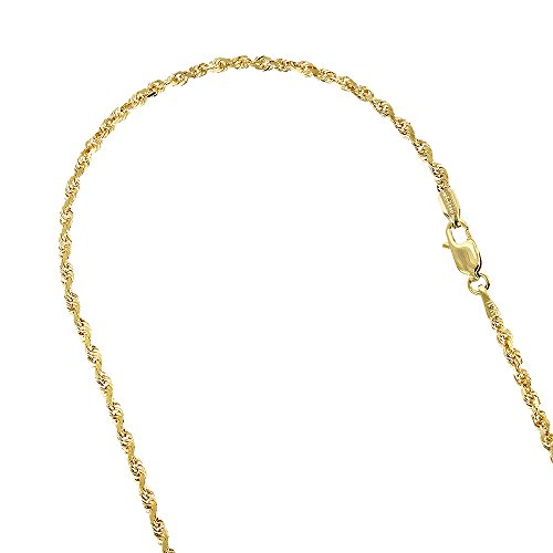 10k-yellow-gold-25mm-wide-sparkle-rope-hollow-chain-link-bracelet-anklet-lobster-clasp-10-long