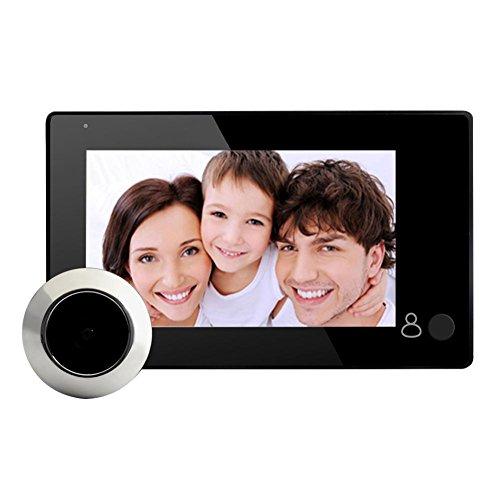 JUNERAIN Peephole del Espectador Video Digital de la Puerta de 4.3inch LCD con 145 un botón del Grado
