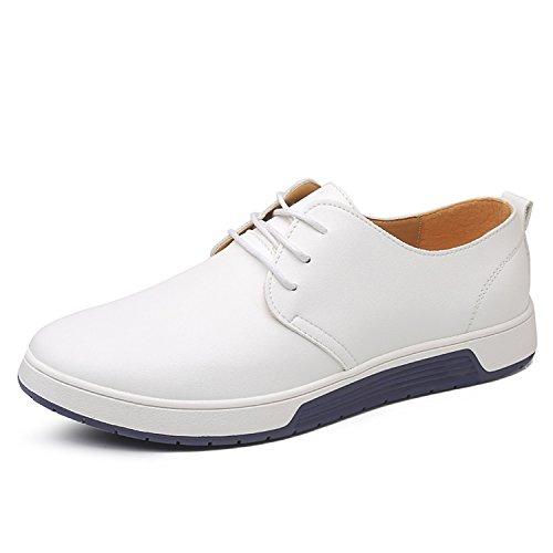 Casual Leder Herren Schuhe Business Halbschuhe Zum Schnürer Anzugschuhe Oxford Derbys Lederschuhe Wasserdicht Flache Schnürhalbschuhe Männer für Hochzeit Party Weiß Übergrößenn 44
