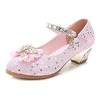Sunny-U Mary Jane Cute Pink Glitter Sequin Party Wedding Low Heel Princess Shoes UK 11 Kids