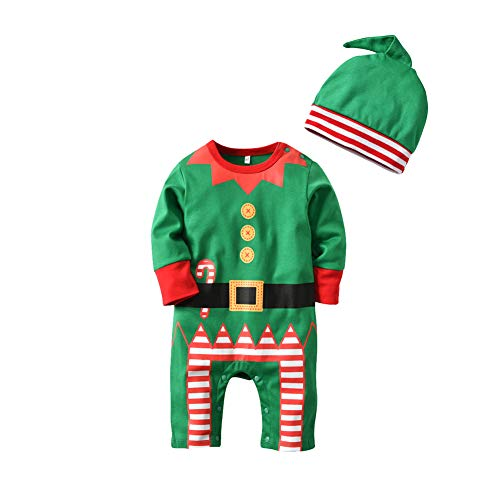 Deylaying Combinaison Bébé + Hat Set - Vêtements de Nuit en Coton Enfants Noël Toddler Outfits Infant Romper Green Pyjamas Adorable Suits 1 T - 3 T