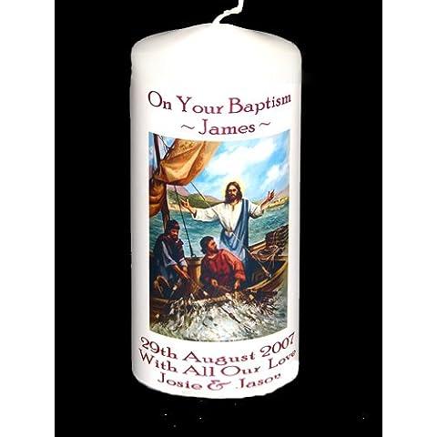 De regalo con mensaje personalizado vela para invitaciones para Comunión con inscripción, de bautizo para,