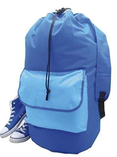 Sac à linge Motif sac de sport, le moyen facile à ranger et à transporter tout votre linge (Bleu/bleu)