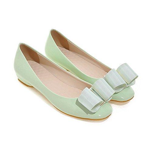 VogueZone009 Damen Lackleder Quadratisch Zehe Rein Ziehen Auf Pumps Schuhe Grün