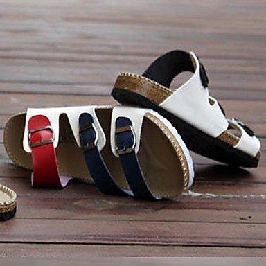 Hommes décontractées sandales en simili cuir noir/bleu Black