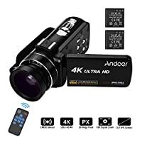 Video Camera 4K Camcorder, Andoer Ultra HD Professional Digital Video Camera CMOS Sensor Camcorder with 0.45X Wide Angle Lens with Macro Hot Shoe Mount 3.0 Inch IPS Monitor Burst Shooting Anti-Shaking