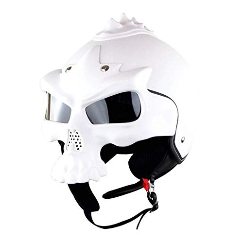 ZXDHELMET Casco Motocross Integrale Motard Downhill Caschi Moto Cross Integrali DH ECE Omologato Donna Uomo,White,L58~59cm