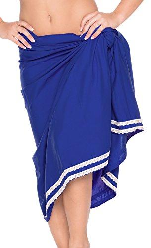 La Leela liscia rayon pizzo pareo sarong pianura coprire gonna vestito 78x39 pollici Blu