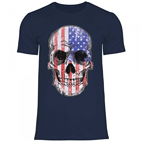 Royal Shirt df24 Herren T-Shirt USA Amerika Stars Stripes Flagge   Hot Rod Biker Totenkopf, Größe:M, Farbe:Navy