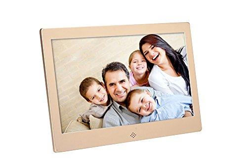 FashionUp 10-Zoll DH Digital Fotorahmen 1024x600 für Wandmontage oder Tabletop verwenden, 8GB Digitaler Bilderrahmen mit Fernbedienung Eingebaute Diashow SD-Karte USB-Ports (Tabletop-bilderrahmen)