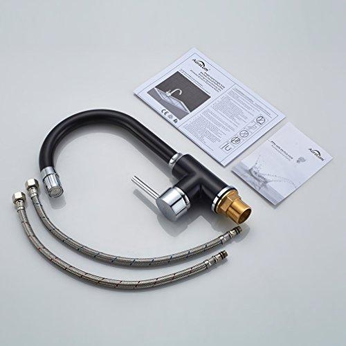 Auralum – Küchenarmatur mit LED-Beleuchtung und Schwenkauslauf, Schwarz - 8