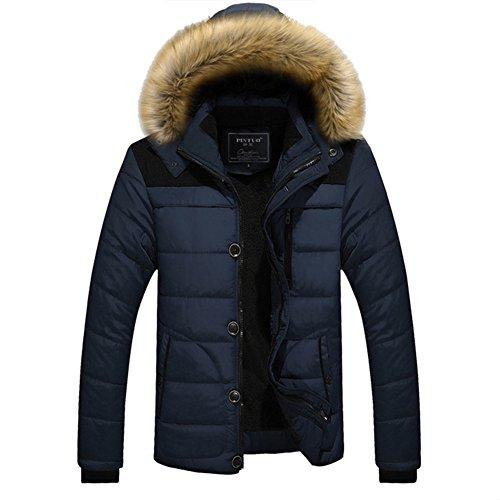 Qingxian Winterjacke Herren Wattierte Steppjacken Mit Fellkapuze Down Jacket Warme Mäntel Winterjacke