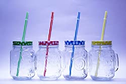 Click Point Transparent Mason Jars with Handle and Multicolour Lid (500ml) with Handle and Colored Check Pattern Tight Cap with Hole and High Quality Re-Usable Straw Set of 1