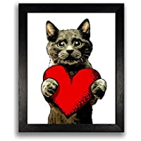 Valentines Print - Cute Love Cat with Heart Art Print Poster - 8x10 inches