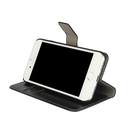 iPhone 7 Coque,COOLKE Retro Folio Cuir PU Protection Etui Coque Housse Case Cover pour Apple iPhone 7 (4.7 inches) - Noir Noir