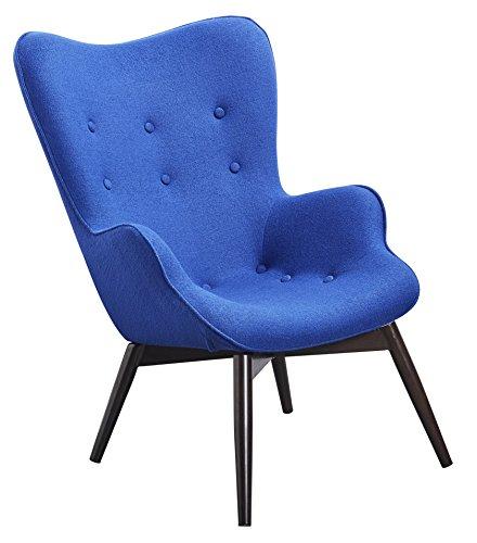 Schwarz Im Retro-design (Designer Ohren-Sessel mit Armlehnen aus Webstoff in Saphir-Blau | Anjo | Club-Sessel im Retro-Design | Gestell aus Holz in Schwarz-Braun | 68 x 41 x 92 cm)