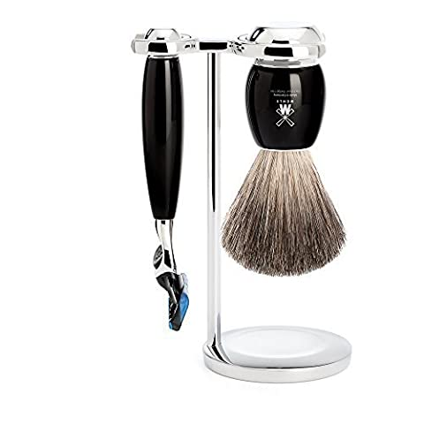 Muhle VIVO Black 3 Piece Gillette Fusion Shaving Set with Pure Badger Hair Shaving Brush