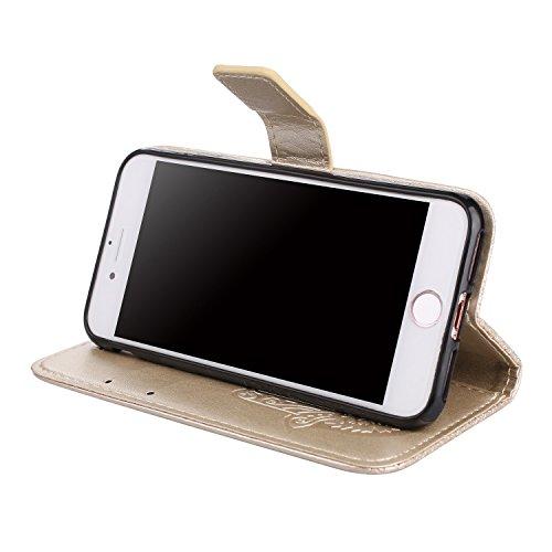 Geprägtes Floweer-Muster Retro- Art-horizontaler Schlag-Standplatz-Fall PU-lederner Fall-Abdeckung mit Mappen-Beutel u. Lanyard u. Kickstand für iPhone 7 ( Color : Pink ) Gold