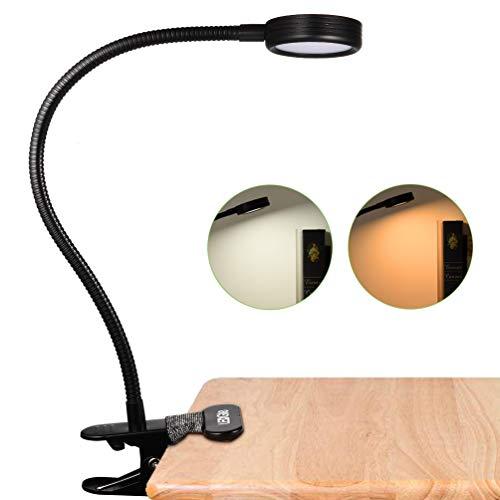 LEDGLE 2-en-1 Lampe de Chevet à Pince LED Lampe de Lecture, 2 Niveaux de luminosité, 2 Modes, 3W, Noir